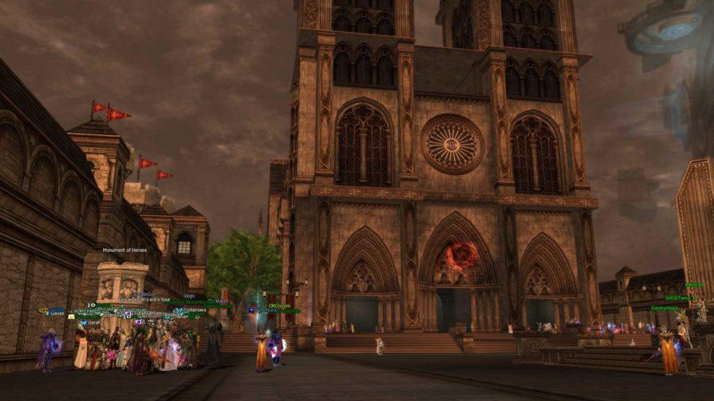 Nostalgia bije z głównego placu w Giran w L2 MMORPG.