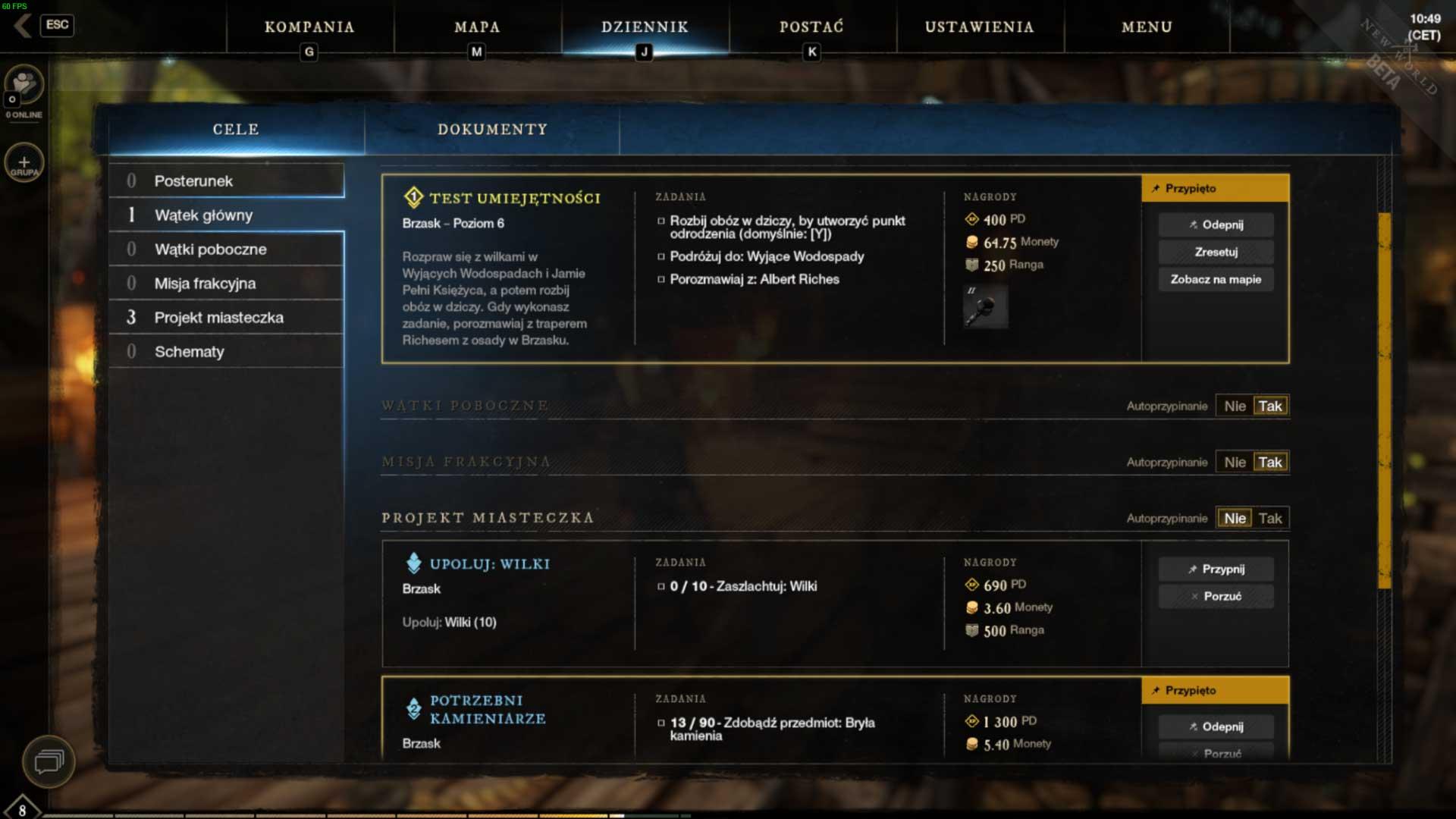 MMORPG New World Zadania