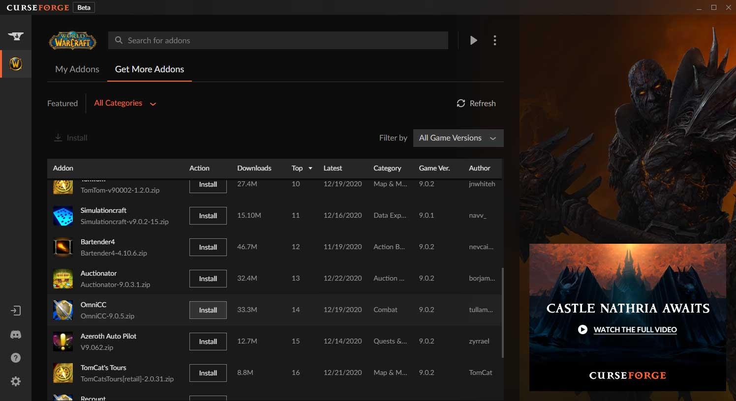 World of Warcraft Curseforge