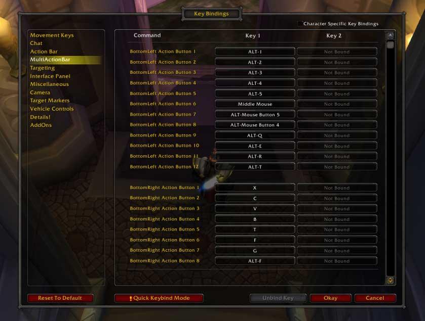 Mapowanie klawiszy wWorld of Warcraft