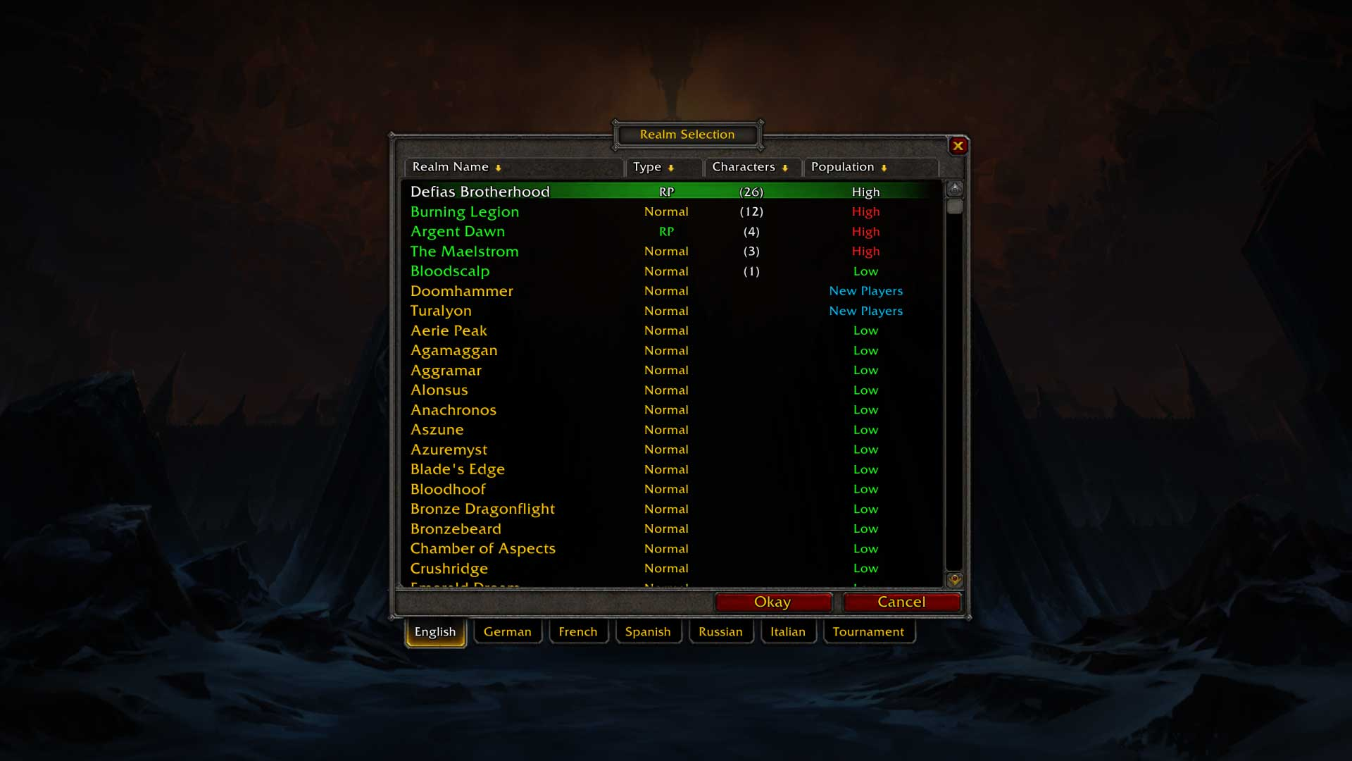 Wybór serwera wWorld of Warcraft