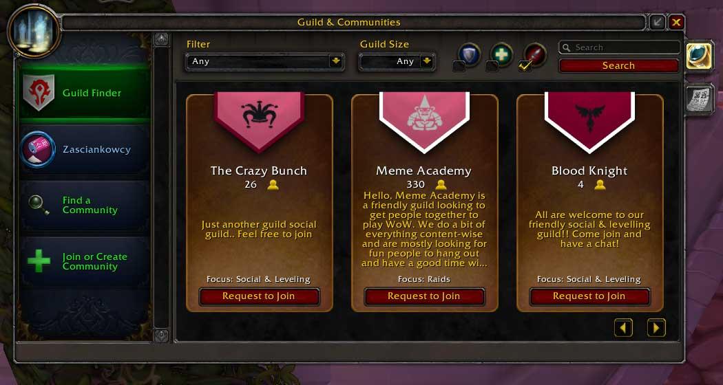 Poszukiwanie gildii wWorld of Warcraft